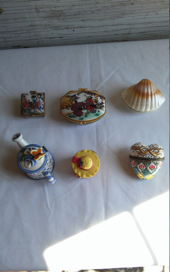 6 Vintage Porcelain Trinket/Pill/Dresser Boxes of various sizes and themes.  All for one price.  All Perfect.