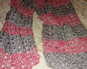 Gray and pink scarf