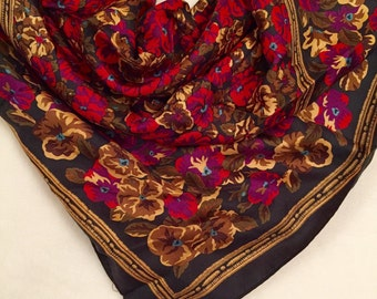 Ann Taylor Floral Print Square Silk Scarf in Berry Red, Pink and Gold Floral with a Black and Gold Border
