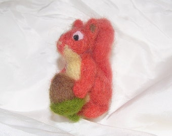 Squirrel with peanut felt felting Handmade Animal