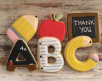 Teacher Appreciation Cookies ABC (1/2 Dozen)