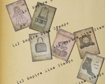Shabby Collage Antique Style Gift Tags Instant Download Old Time Catalogue Goods For Sale