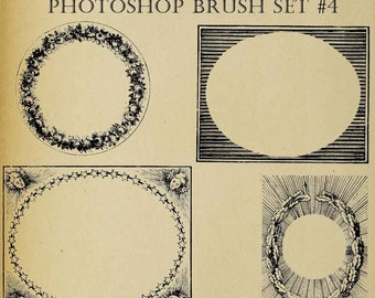 Set of NINE Photoshop Brushes Antique Frames Borders Embellishments Digi Stamps  Clip Art Download