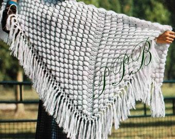 Crochet Shawl Pattern ~~ Vintage Triangular Wrap ~~ Fringed Stole ~~ Digital Download ~~ Shell Pattern Shawl ~~ PDF Crochet Pattern