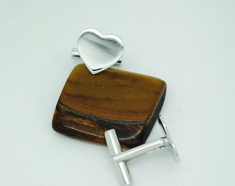 Silver Hearts Cufflinks - Silver Jewellery