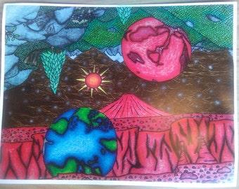 Earth 'n mars night art print