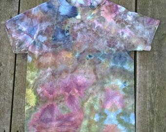 Hand Dyed T-Shirt- Kids Size Medium- Purple, Green & Dusty Pink- Dragon Breath- Boho Hippie Medieval Tie Dye