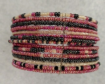 Pink Seed Bead Cuff Bracelet with Steel Blue and White Accent Beads