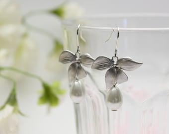 Silver Orchid Dangle earrings