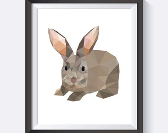 Polygon Rabbit Digital Print Wall Art, PDF