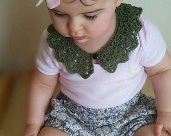 Peter Pan Lace Collar - olive green