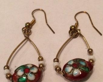 Copper Color Cloisonne Earrings