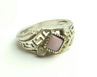 Vintage Sterling Silver Ring with Pink Moonstone and Clear Accent Gemstones- Size 6