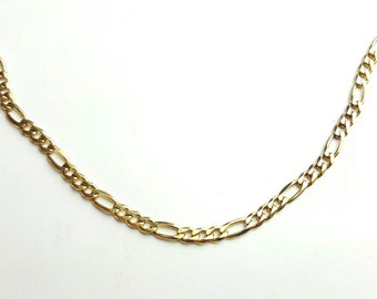 Vintage Sterling Silver Gold Plated Figaro Chain Necklace- 18 Inch