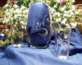 Personalized Glass Pitcher with set of 4 Glasses.