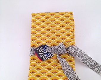 50x75 cm- Japanese fabric pattern Gold Yellow Waves seigaiha 100% cotton