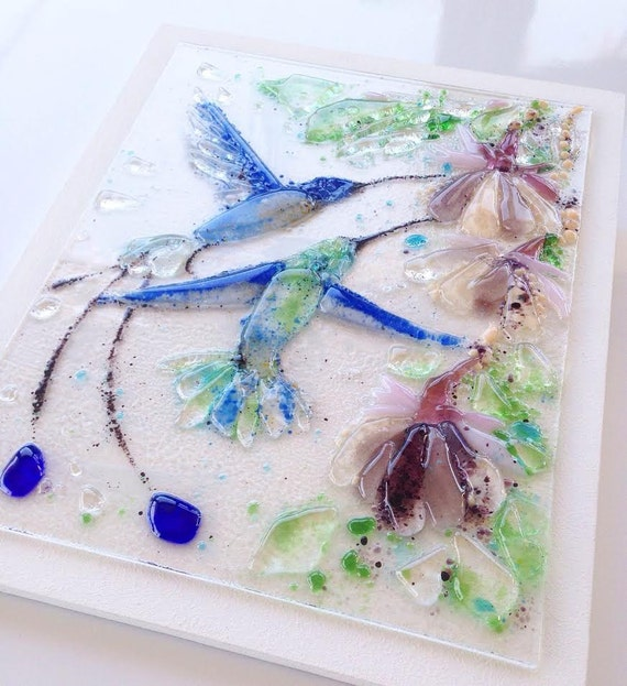 Fused Glass Wall Art: Fused Glass Wall Art Hummingbird Original Wall Decor Gifts