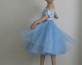 Tulle skirt petticoat blue 70 cm