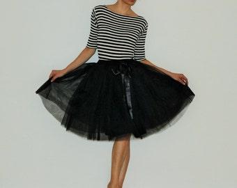 Tulle skirt petticoat light black skirt length 55 cm