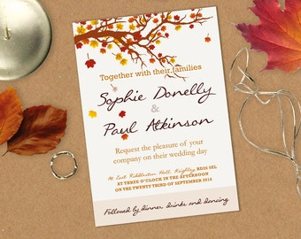 Autumn Leaves Wedding Invitation, Save the date & RSVP
