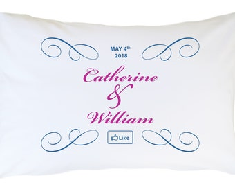 Wedding Personalized Pillowcase Set 2 pcs PLW01- Add Your names and event date