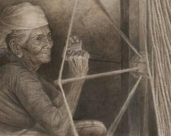 Indian Rope Maker Portrait, original framed painting
