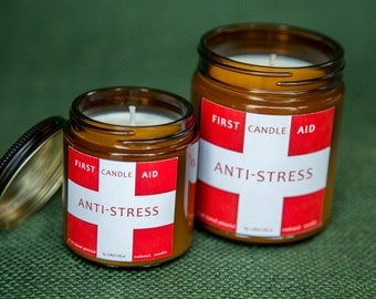 Scented soy candle ANTI-STRESS ,4 oz natural candle, soy candles, amber jar candle