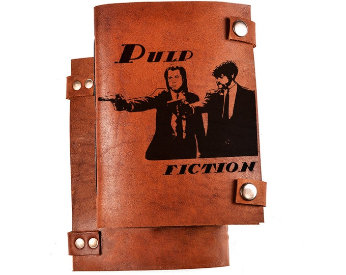 Leather sketchbook - Pulp fiction - Quentin Tarantino - notebook - Vincent Vega - Jules Winnfield - personalized diary - leather journal
