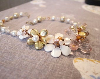 Hand-made statement necklace, wire wrapped with fresh water pearls and glass beads ,Bridesmaids gift, mother of the bride