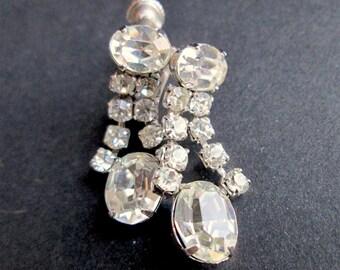 Vintage Screw Back Earrings Clear Claw Set Oval Rhinestones Dangle Drop Silver Tone Rhodium Plated Prom Gala Wedding