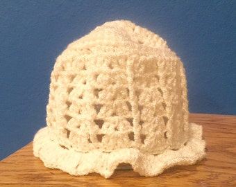 White Knit Baby Hat