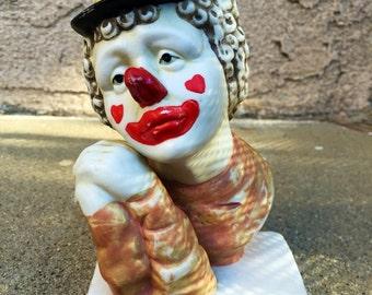 "Sad Romantic Dreamy Ceramic Clown Statue 6"" x 3.5"""