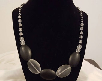 Black and White Seaglass Necklace