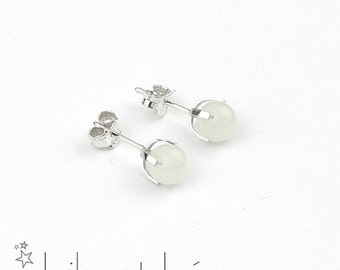 White jade gemstone stud earrings 1, sterling silver 925