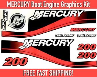 Mercury Boat Motor Graphics Kit, 150HP, 200HP, 250HP, 300HP