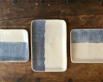 Set of three hand-made ceramic trays