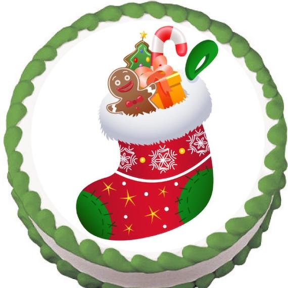 Edible Cake Decorations For Christmas : Christmas Stocking Edible Cake Topper