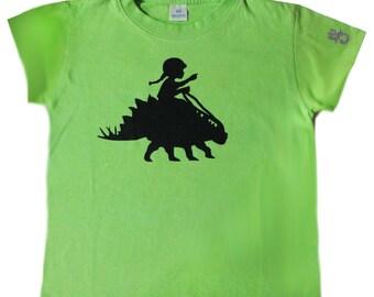 Size 6 Light Green A Girl and Her Dinosaur 2 T Shirt