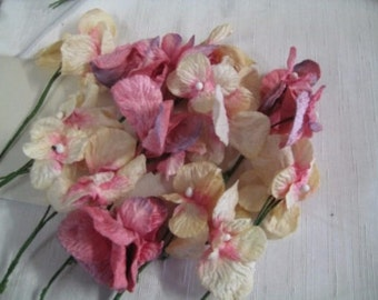Pink Hydrangea Flower Petals, Velvet flowers pink, cream, 18 flowers wholesale millenery, floral arrangements