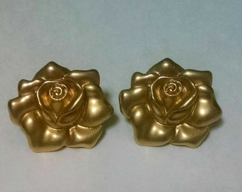 Gold AVON stamped Rose Clip On Earrings
