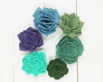 6 Felt Succulent Magnets, Felt Flower Magnets, Succulent Magnets, Felt Flowers, Fridge Magnets, Home Decor, Flower Magnets, Felt Flowers