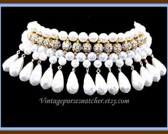 Vintage Pearl Choker, Vintage Choker, Vintage Pearl Necklace, Vintage Pearl and Rhinestone Necklace, Vintage Pearl Jewelry, Vintage Jewelry