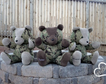 Memory/ Keepsake Bear - Made with Military Clothes