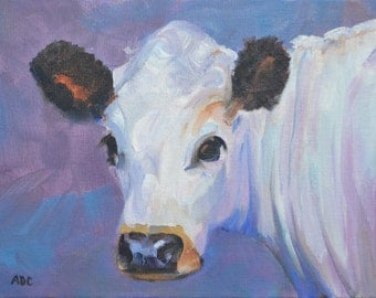 Cow, cow art, oil painting, small art
