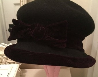 Clearance Sale Vintage Cloche Black Wool and Velvet Hat / fall clearance sale