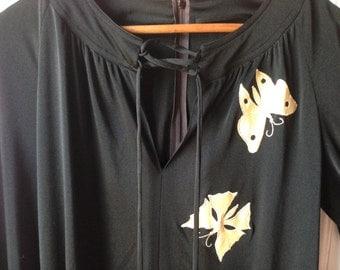 Plus size vintage black dress with butterflies!