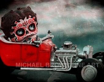 Betty Boop in Hotrod Dia De Los Muertos PRINT #460 from Artwork by Michael Brown