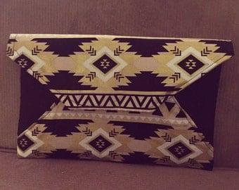 Aztec Print Envelope Clutch