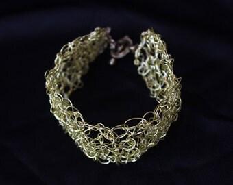 Wire Crochet Cuff Bracelet (Gold)