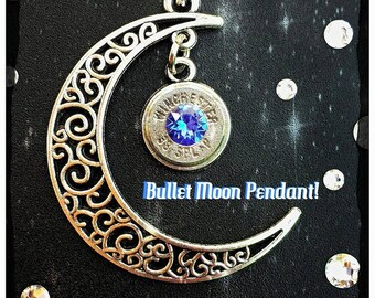 Bullet Moon Pendant and chain